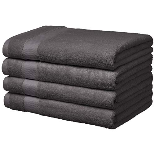 AmazonBasics Everyday Bath Towels, Set of 4, Fog Grey