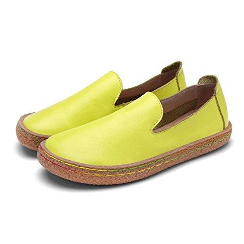 para mujer de primavera cabeza mujer Tamaño 38 ocasionales de pedal de redondos planos Zapatos Amarillo Zapatos HWF Caqui Color Zapatos de de mujer redonda un Zapatos TxYz56Uqw