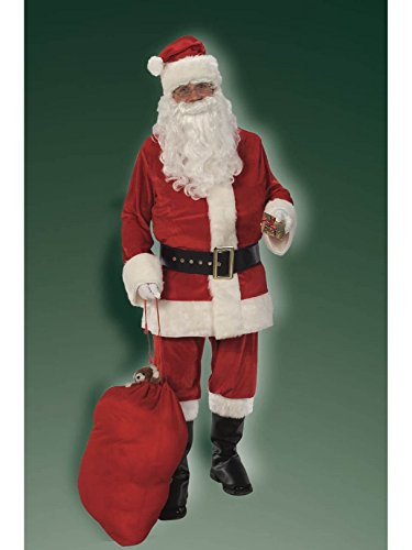 (Rubie's 8-Piece Deluxe Velvet Santa Suit with Wig and Beard, Red/White,)