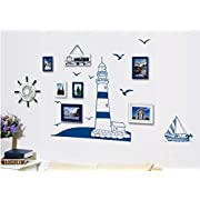 DNVEN (32 w x 18 h) Sea Lighthouse Seagulls Boat Scetch Wall Decals Stickers Bedroom Kids Room Nursery Nautical Wall Decor (Lighthouse)