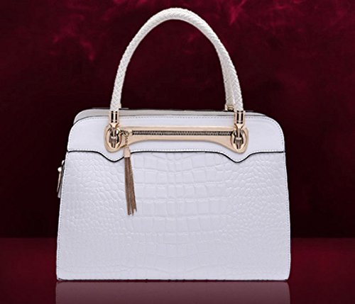 HAOYUXIANG Nuevo bolso femenino del bolso del modelo del cocodrilo retro del bolso del bolso ocasional de Messenger bag (Color : Rosa roja) Blanco