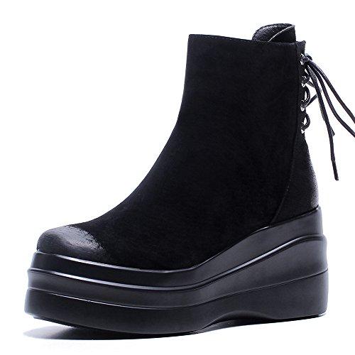 [チカル] CHICULL レディース ショートブーツ 5cm 厚底 スニーカー バックレースアップ 編み上げブーツ シークレットシューズ 牛革ヌバック レザー 本革 2裏選択 8cm 身長アップ ウェッジヒール 短靴 アンクルブーツ ブラック(裏地: 豚革) 23.0cm