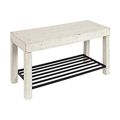 Kate and Laurel 212607 Jeran Entryway Farmhouse Bench with Iron Shoe Shelf, 36x14x20, White - Freshen your living room or entryway with the Jeran Entryway Bench. The distressed white-washed finish and classic design makes it the perfect piece for stylish function At 36 Inches long x 14 inches deep and 20 inches tall, you can easily sit 2 adults at this bench. Fantastic to have on hand when you need an extra place (or two) at the table Sturdy iron metal makes up the  shelf secured underneath. It is the full depth of the bench (14 inches) x 32 inches long, leaving plenty of room for several pairs of shoes or bags - entryway-furniture-decor, entryway-laundry-room, benches - 418BHXgoiAL. SS400  -