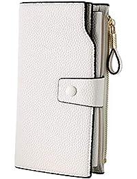 Women's RFID Blocking Large Capacity Luxury Wax PU Leather Clutch Wallet Card Holder Organizer Ladies Purse