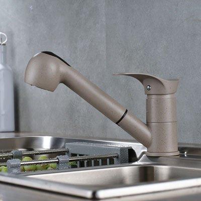 CZOOR Waschbecken-Mischer-Hahn Moderne schwarzed Cremig-Weiß-Mischer-Hahn einzigen Handgriff Ein Loch zieht Spray und Dampf Kichen Sink Taps, Creamy-Weiß Spot