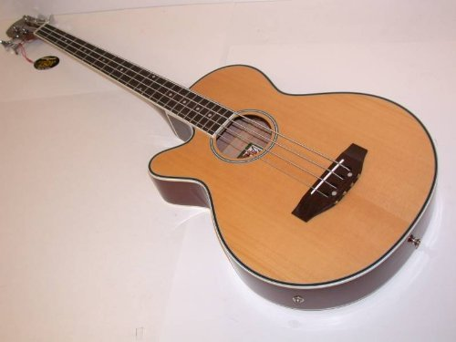 Left Hand Oscar Schmidt Acoustic Electric Bass Guitar, Lefty, Venetian Cutaway, Gig Bag