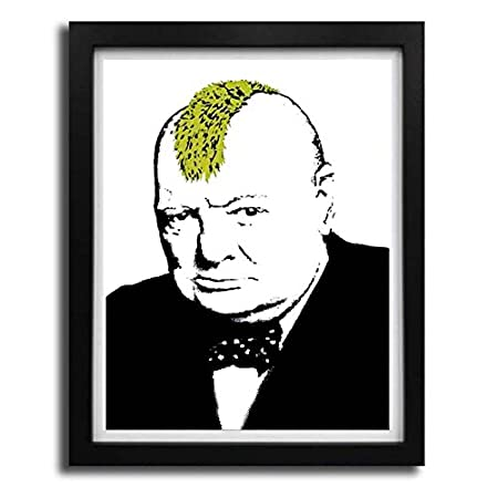 Winston churchill punk rocker banksy poster print picture framed art black white frame a4 a3 a2
