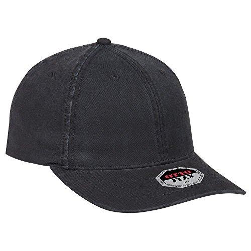 OTTO Cotton Twill Flex 6 Panel Slim Fit Low Profile Baseball Cap - Black