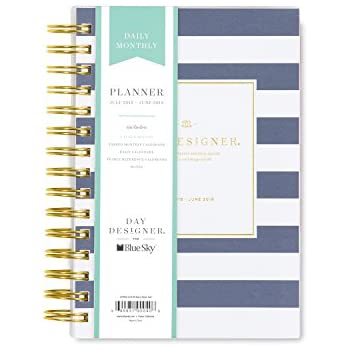 photograph relating to Daily Designer known as Working day Designer for Blue Sky 2018-2019 Educational Calendar year Day by day Every month Planner, Adaptable Go over, Dual-Twine Binding, 5\
