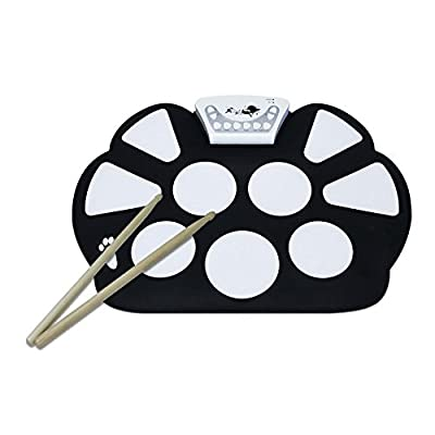 EasyLink Birthday Gift Portable Electronic Roll up Drum Pad Kit Silicon Foldable& Record Function with Drum Stick Foot Switch Pedal for Kids Electronic Toys Education Toys and Valentine's Day from EWILL TECHNOLOGY LTD