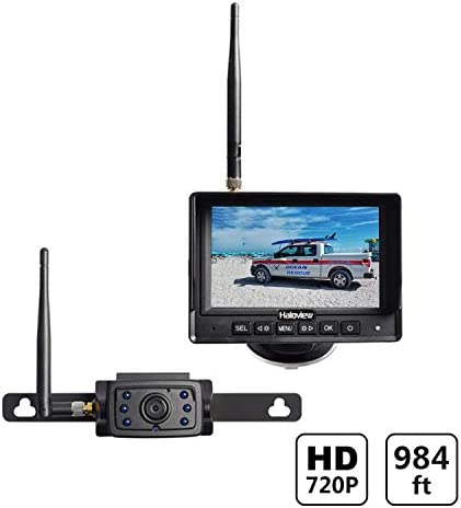 Haloview MC5111 5 720P HD Digital Wireless Backup Camera System 5 LCD Rear View Monitor and IP69K Waterproof Reversing Built in DVR Kit for Trucks Trailer Bus RVs Pickups Camper Vans