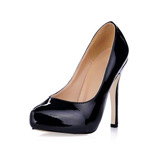 Vernis Talon À Haut Noir Et L'automne Sens Cuir Tempérament Seul Grandes Chaussures Boîtes Réformateur De Le Les Black Femmes aTTwqO