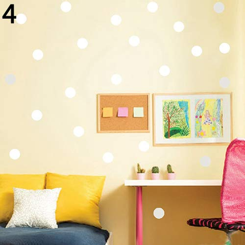 White Polka Dots Wallpaper - ink2055 Polka Dots Baby Nursery Children Wall Sticker Decals Kids Room Home Wall Paper Decal Decor - White M