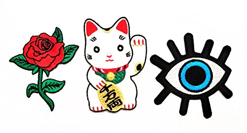 Nipitshop Patches Set of 3 Pcs Cute Maneki-neko Japan Japanese Lucky Cat Patch Red Rose Eye eyeball tattoo wicca occult goth punk retro applique iron-on patch for Clothes Costume or Gift ()