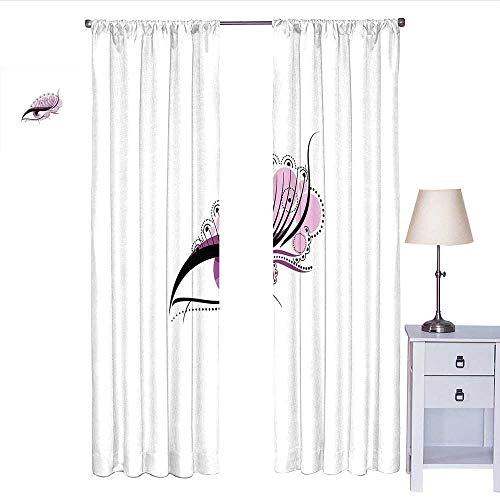 RenteriaDecor Eyelash Blackout Curtain Abstract Eye with Big Pink Dots Circles and Floral Feminine Details Curtain Valance Pale Pink Black White W72 x L108 (Circle Valance Dot)