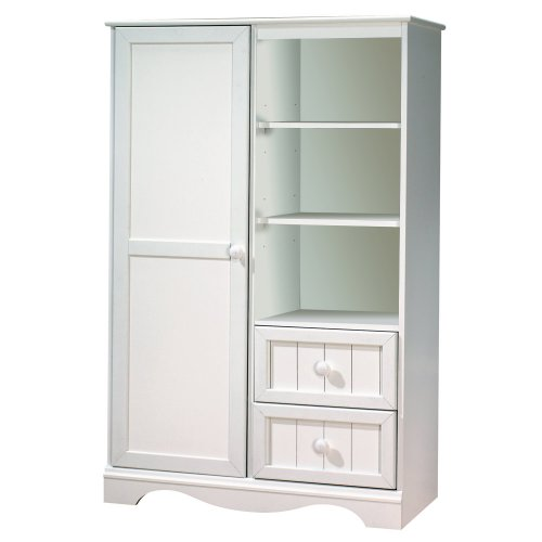 2 Drawer Cherry Armoire - South Shore Savannah Collection Door Chest, Pure White
