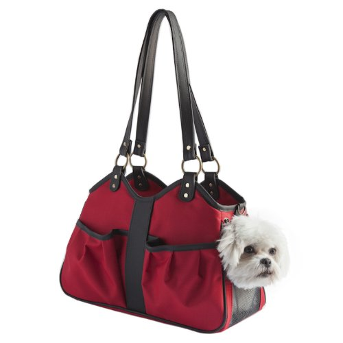 Petote Metro Dog Carrier Bags with 2 Open Pockets, Red, Small