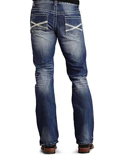 Stetson Men's Rocker Fit with Lower Rise and Slightly Fitted Thigh Jean,Medium Blue Stone Wash with White X Back Pocket Embroidery, 32x34 Urban Cowboy Jeans