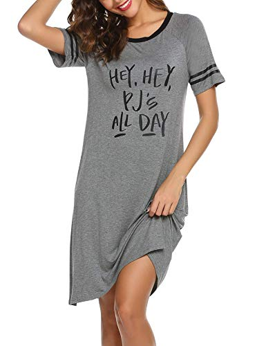 Ekouaer Cotton Sleep Dress Letters Print Women Baseball Sleeve Nightshirt (Grey - Nightshirt Print Womens