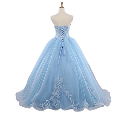 Mollybridal Tulle Ball Gown Applique V Neck Wedding Prom Dresses for Bride Women Long 2018 at Amazon Womens Clothing store: