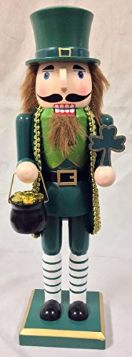 Irish Man with Pot of Gold Four Leaf Clover Wooden Christmas Nutcracker 14 Inch ()