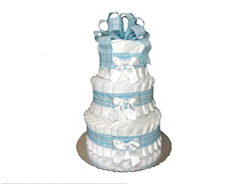 Classic Pastel Baby Shower Diaper Cake (3 Tier, Blue) from Rubber Ducky
