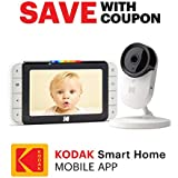 """KODAK Cherish C520 Video Baby Monitor with Mobile App - 5"""" HD Screen - Hi-res Baby Camera with Remote Zoom, Two-Way Audio, Night-Vision, Long Range - WiFi Indoor Camera Smart WiFi Baby Monitor"""