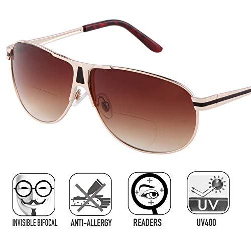 Bifocal Sunglasses Readers for Women Men Outdoor Reading Glasses UV400 by O-LET (Gold Frame/Gradient Brown Lens
