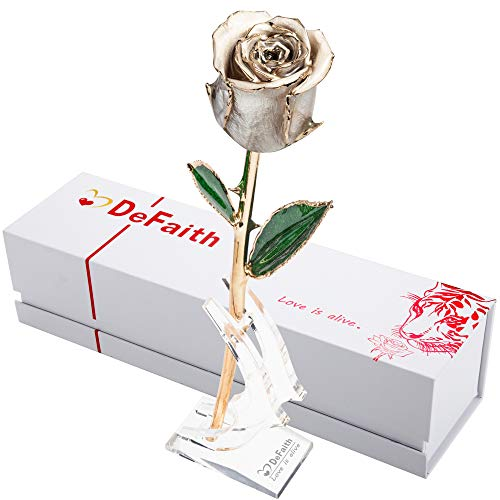 DEFAITH Real Rose 24K Gold Dipped, Forever Gifts for Her Valentines Day Anniversary Wedding and Proposal, Attractive Luster and Natural Shape - Pearl White with Moon Stand ()