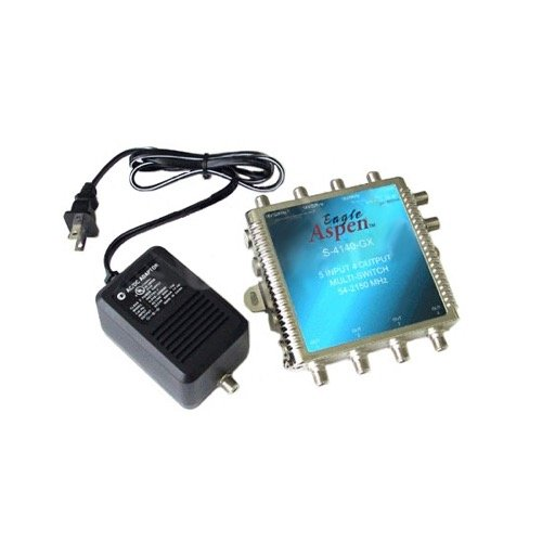 5x4 Multi-Switch Satellite / Off-Air Eagle Aspen 5 x 4 Satellite Dish Multiswitch 5 Input / 4 Output Outdoor Antenna Video Signal Distribution, 54-2150 MHz