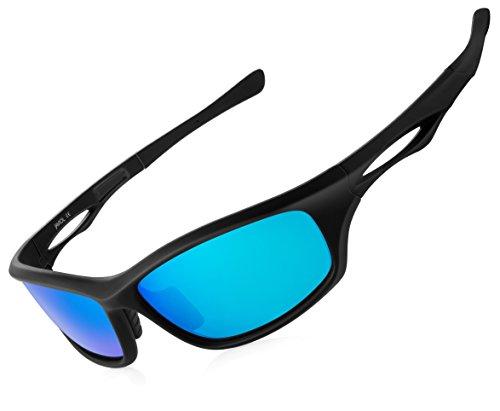 e627d6045e JAVIOL Polarized Sports Sunglasses for Men Women Fishing Driving Sunglasses  Cycling Running Baseball Golf uv400 (Matte Black-Blue Mirrored