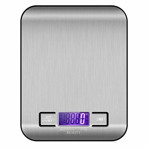 Kuality Multi-function Digital Kitchen Food Scale, 11lb 5kg Stainless Steel Platform with LCD Display, g/oz/lb/ml Switchable Electronic Scale for Cocking, Black