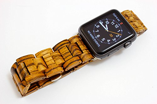 Handcrafted Wooden Band for Apple Watch - Stainless Steel Butterfly Clasp with Adjustable Links - 4 Natural Hardwood Options Men and Women Strap and Bracelet Sizes 38mm 42mm - by Wood Mark -
