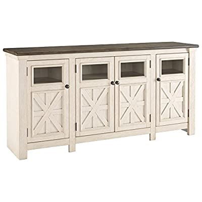 Signature Design by Ashley Bolanburg Extra Large TV Stand Two-tone - TRADITIONAL TV STAND: No matter your decor style, this classic TV stand will fit right in. It's finished in a two-tone, gently distressed effect in weathered oak and antique white for charming appeal HANDSOMELY CRAFTED: TV monitor stand is made of veneers, pine wood and engineered wood. Accented with black faceted hardware VERSATILE STYLE: This light neutral color combination easily matches all kinds of colors and decor styles, whether yours is modern farmhouse or traditional - tv-stands, living-room-furniture, living-room - 418BLgs9TxL. SS400  -