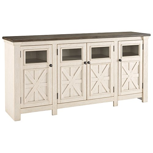 (Ashley Furniture Signature Design - Bolanburg TV Stand - Farmhouse - Two-Tone White)