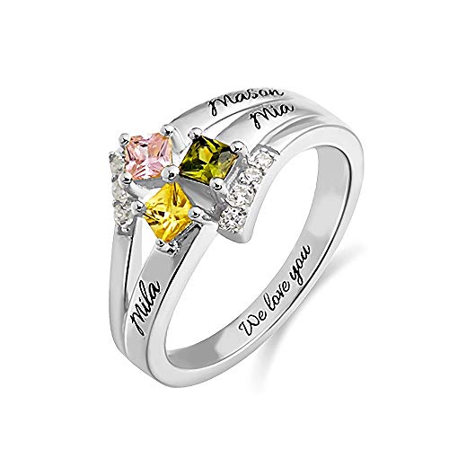Mothers Ring Personalized 3 Stones and 3 Names 925 Sterling Silver-Family Name Ring Anniversary for Grandma