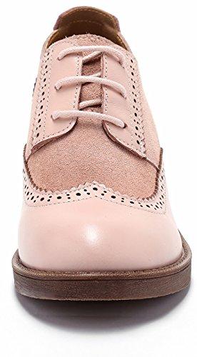 à Bureau Vache Cuir en Up Comfy Pompe Suede SimpleC Lacets Cuir Femmes Chaussures en Talon Lacets Rose Chaussures Oxford Pieced à De awxS0q8
