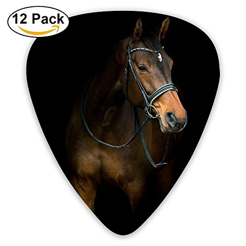 (12-pack Fashion Classic Electric Guitar Picks Plectrums Horse Of Black Background Instrument Standard Bass)
