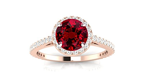 14K Rose Gold Classic Halo Style Pave Set Round Shape Diamond Engagement Ring with a 0.75 Carat Ruby Heirloom Quality Center