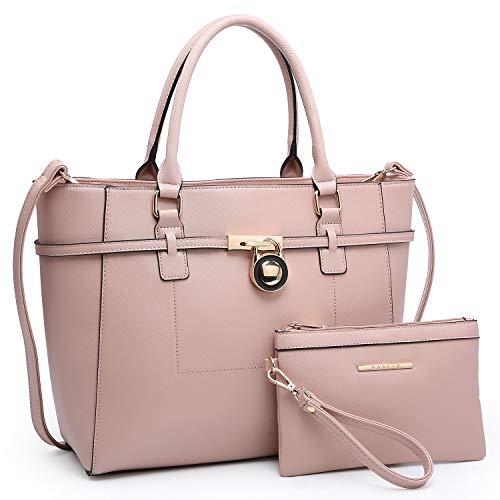 Large Top Handle Satchel Women Handbag Ladies Shoulder Bag Purse Set Faux Leather (Pink) ()