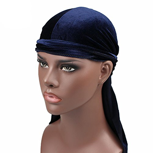 Men's Velvet Durags Bandana Turban Hat Wigs Doo Durag Biker Headwear Headband Pirate Hair Accessories (Navy)