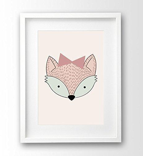 Poster fürs Kinderzimmer A4 ungerahmt, Fuchs Mädchen rosa: Amazon.de ...