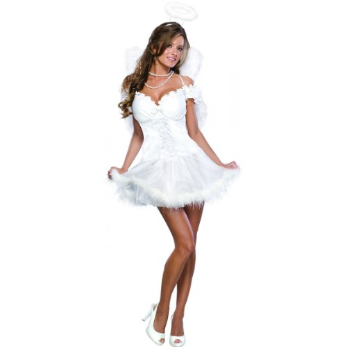 Angel Halloween Costumes Womens (Secret Wishes  Heaven Sent Costume, White, Medium)