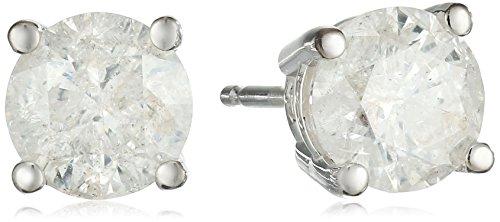 IGI Certified 14k White Gold Round Diamond Stud Earrings