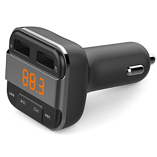 Perbeat Car Bluetooth FM transmitter for iPhone/Android with MP3 Music controls. Dual USB Charging ports. Supports USB/Micro SD card. Hands Free Remote control BT10 Black by Perbeat