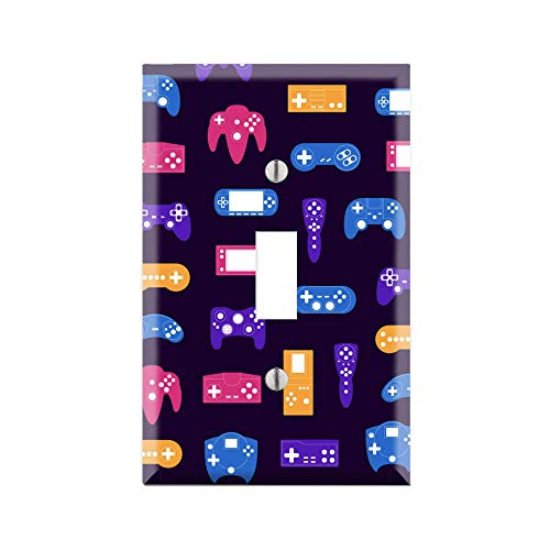 Retro Game Icon Light Switch Cover, Classic Video Game Graphics Wallplate, Video Game Graphics Wallplate, Single Toggle, Single Rocker, Gift for Gamer, Arcade Art for Gamer TF79
