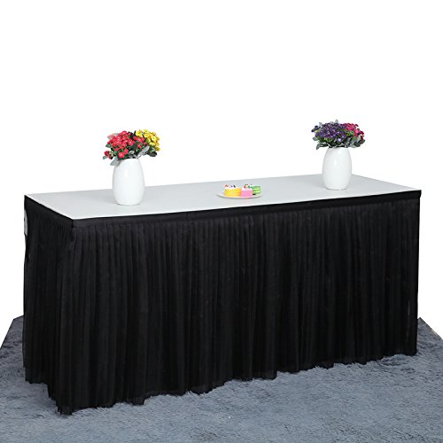 Zehui Pleated Style Tablecloth Polyester Wedding Hotel Table Decoration Birthday Baby Party Table Skirt ,Black 4.27mx80cm