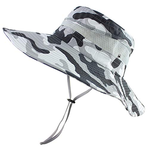 CAMOLAND Summer Fishing Sun Boonie Hat Camouflage Outdoor UV Protection Large Brim Bucket Safari Cap Breathable Mesh