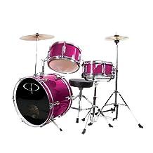 GP Percussion GP50MPK Complete Junior Drum Set, Pink, 3-Piece Set