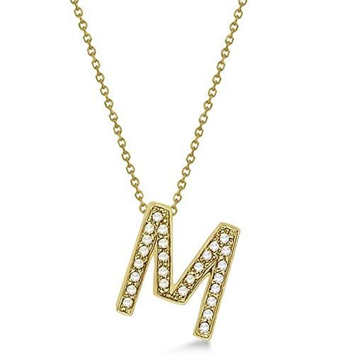 Gemhub Custom Tilted Diamond Block Letter Initial Necklace 14k Yellow Gold Initial Personalized Pendant
